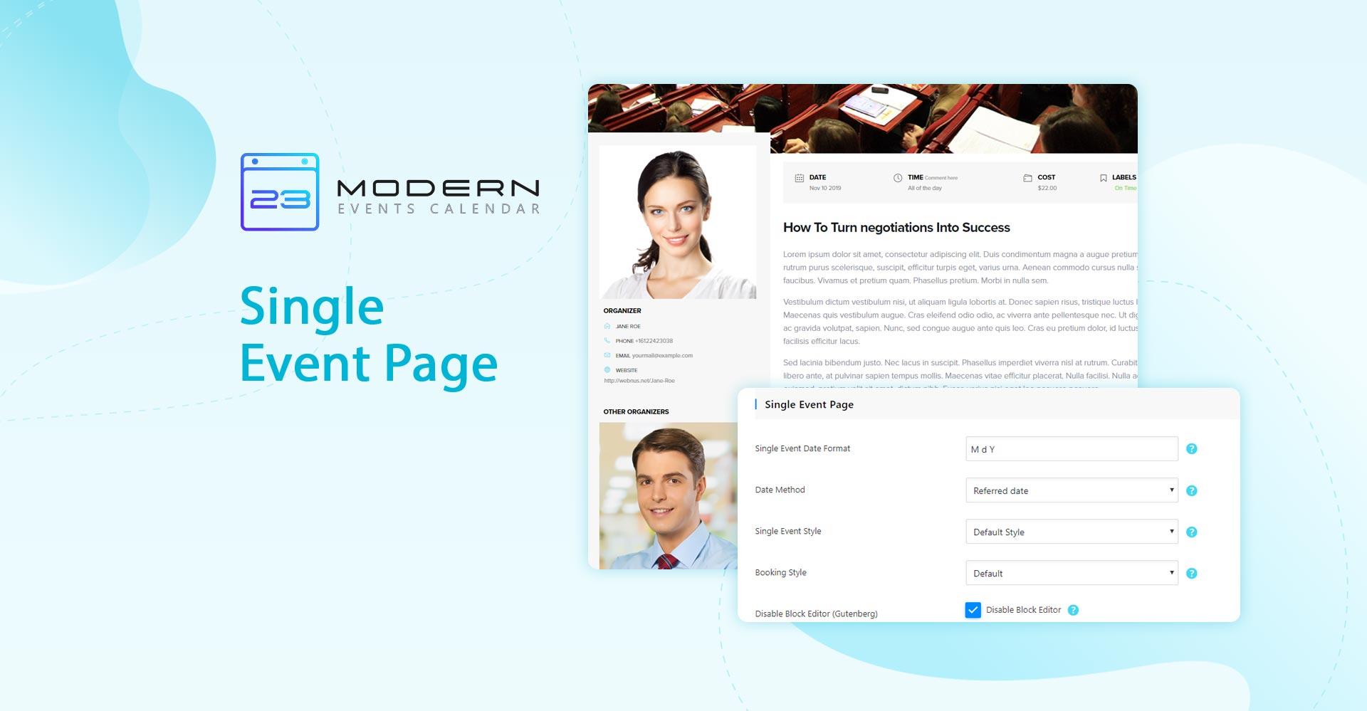 Single Event Page in MEC plugin