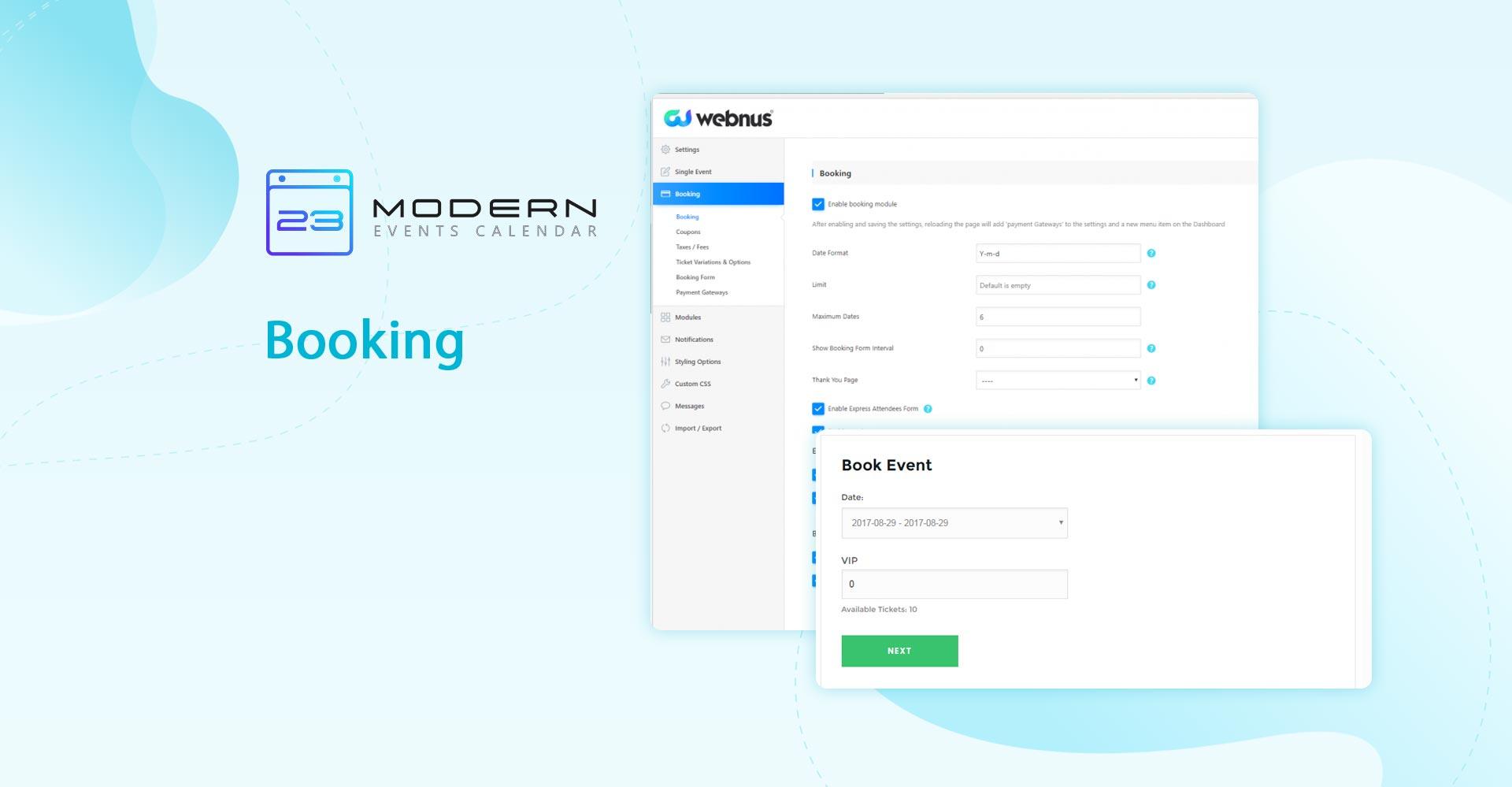 booking system in modern event calendar plugin