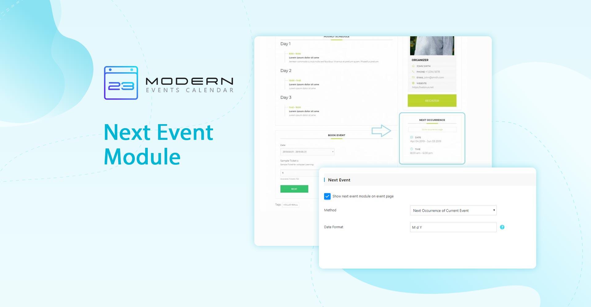 Next Event Module in Modern event calendar