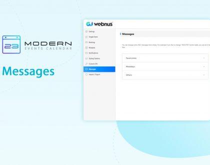 messages setting in WordPress Modern Event Calendar