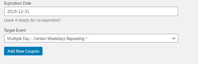 Coupons in WordPress Modern Event Calendar