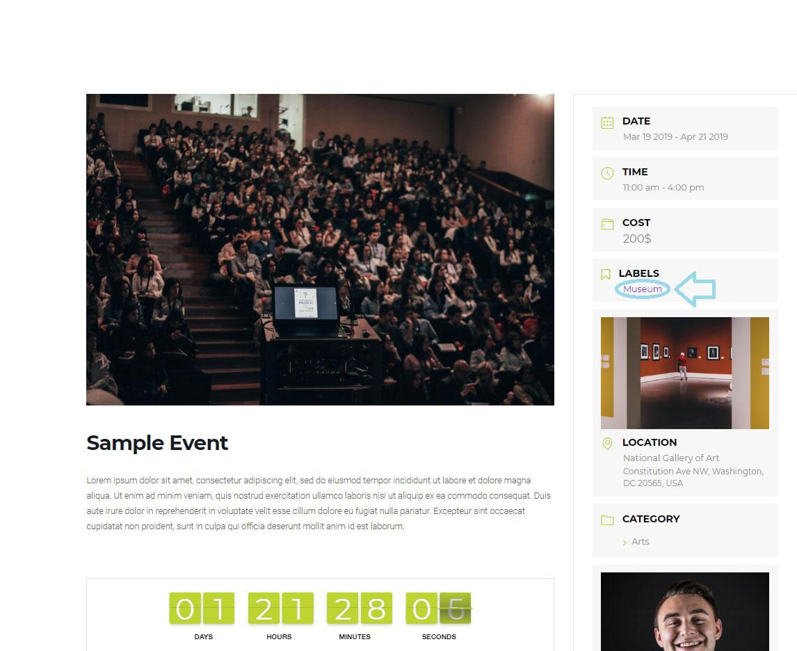 Label - WordPress Event Calendar