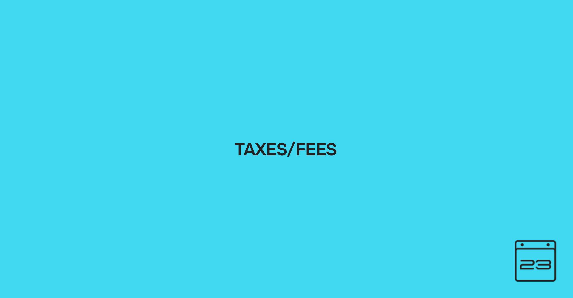 Taxes/Fees - WordPress Event Calendar