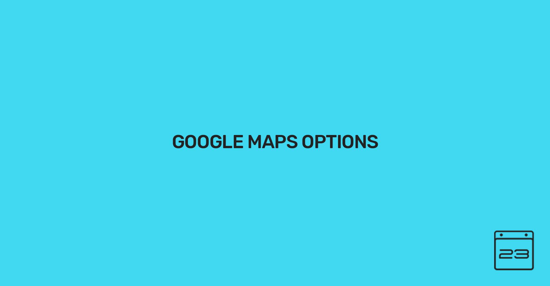 Google Map Options - WordPress Event Calendar