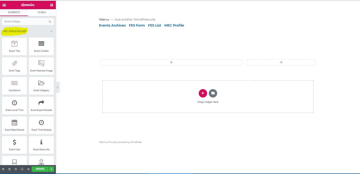 Elementor Single Builder Addon - WordPress Event Calendar