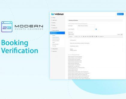 Booking Verification Notification in MEC plugin
