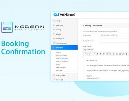 Booking Confirmation Notification in MEC plugin