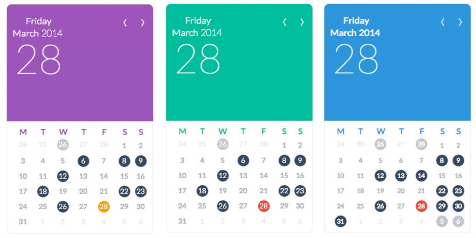 WordPress events calendar
